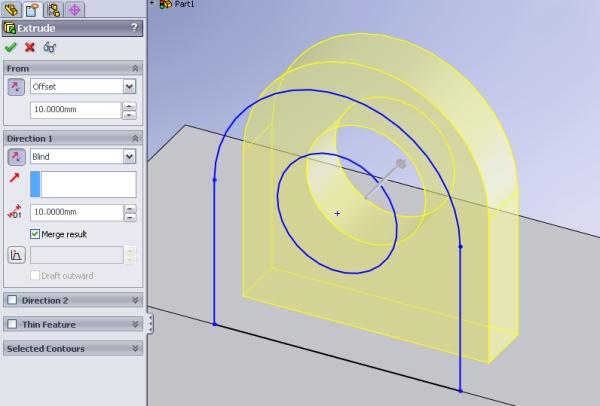 Reduce planes using extrude offset